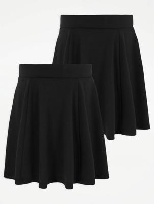 Girls Black Skater School Skirt 2 Pack