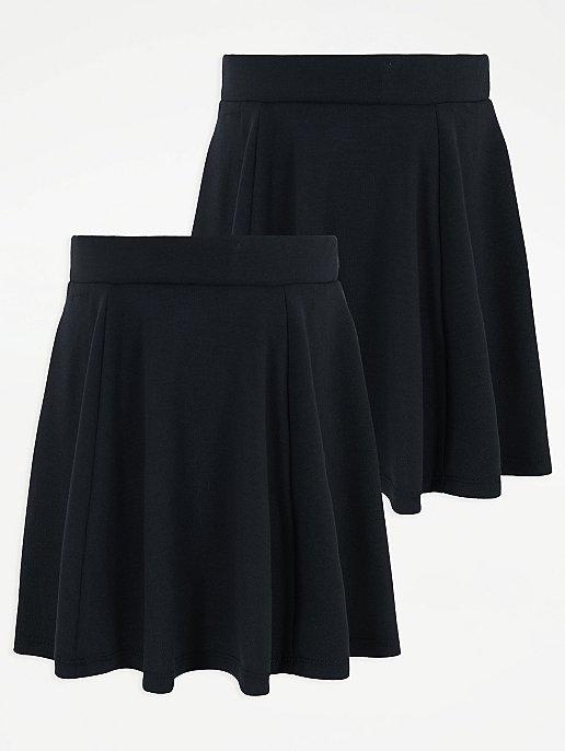 0aa07df98a30 Girls Navy Skater School Skirt 2 pack | School | George