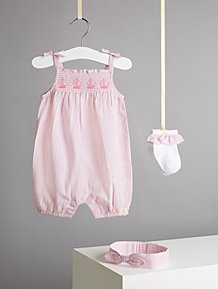 fe6ebbd5f5b4e Billie Faiers Pink Gingham Romper Headband and Socks Outfit