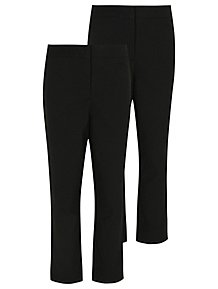 NEW Girls Stretch Pants Size Small 6-6X Black Fold Over Waist Casual School