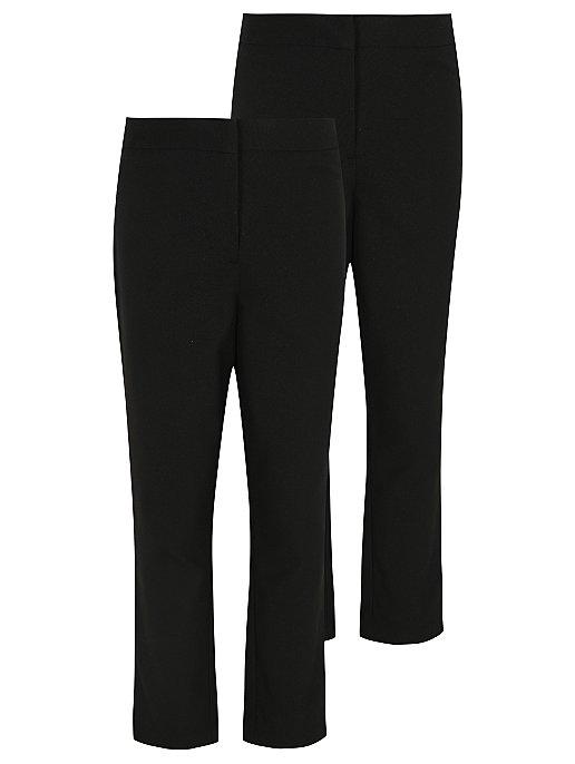 fbd18d35872e Girls Black Slim Leg School Trousers 2 Pack   School   George