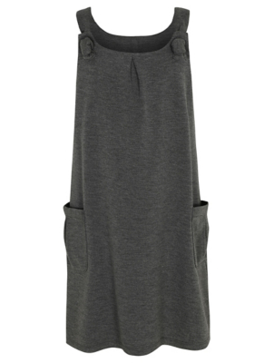 Girls Grey Knot Detail School Pinafore Dress