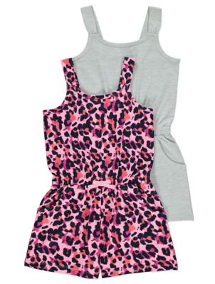 Grey Leopard Print Playsuits 2 Pack