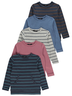 Navy Striped Pocket Front Tops 4 Pack