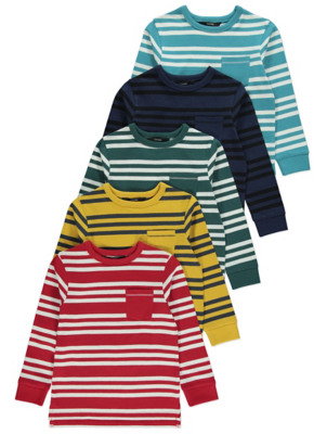 Striped Long Sleeved Tops 5 Pack
