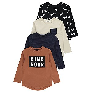 Dino Roar Tan Slogan Tops 4 Pack