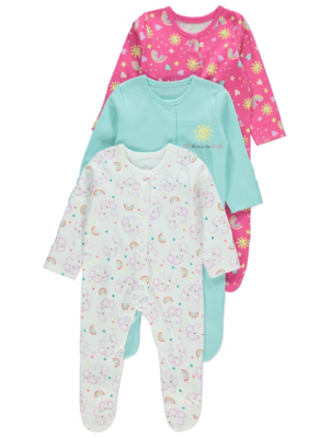Sun and Rainbow Print Sleepsuits 3 Pack