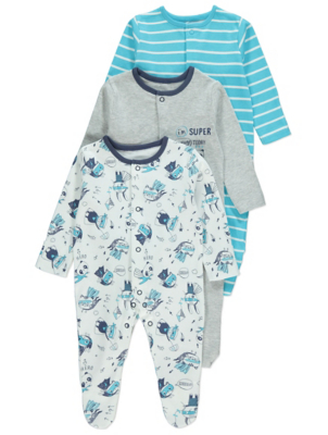 Blue Superhero Print Sleepsuits 3 Pack