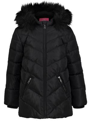 Black Hooded Shower Resistant Padded Coat