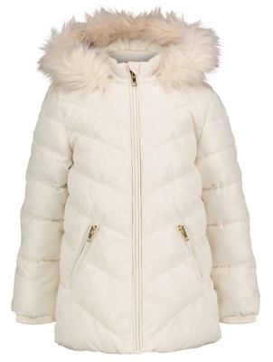 Cream Hooded Shower Resistant Padded Coat