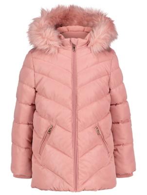 Light Pink Hooded Shower Resistant Padded Coat