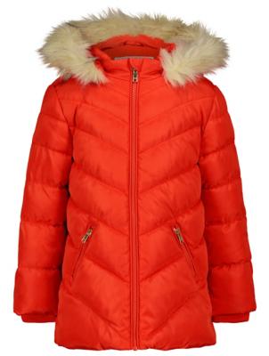 Red Hooded Shower Resistant Padded Coat