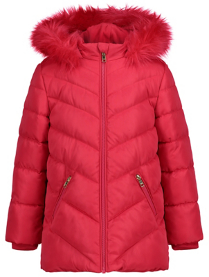 Pink Hooded Shower Resistant Padded Coat