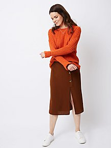 836fce31a86a25 Burnt orange Chunky Ribbed Knitted Jumper