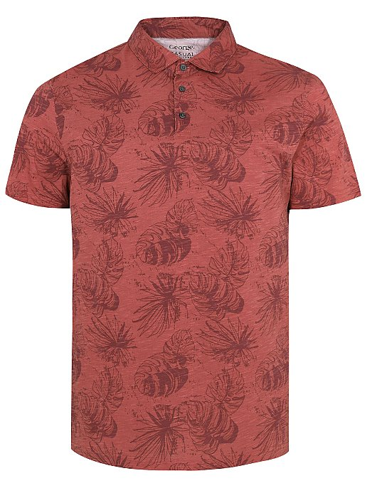 721054fb Dusty Pink Floral Print Polo Shirt | Men | George