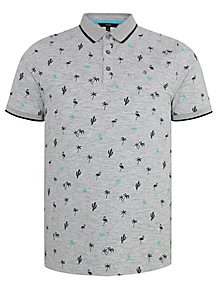 a7d9733a5e Grey Tropical Print Short Sleeve Polo Shirt