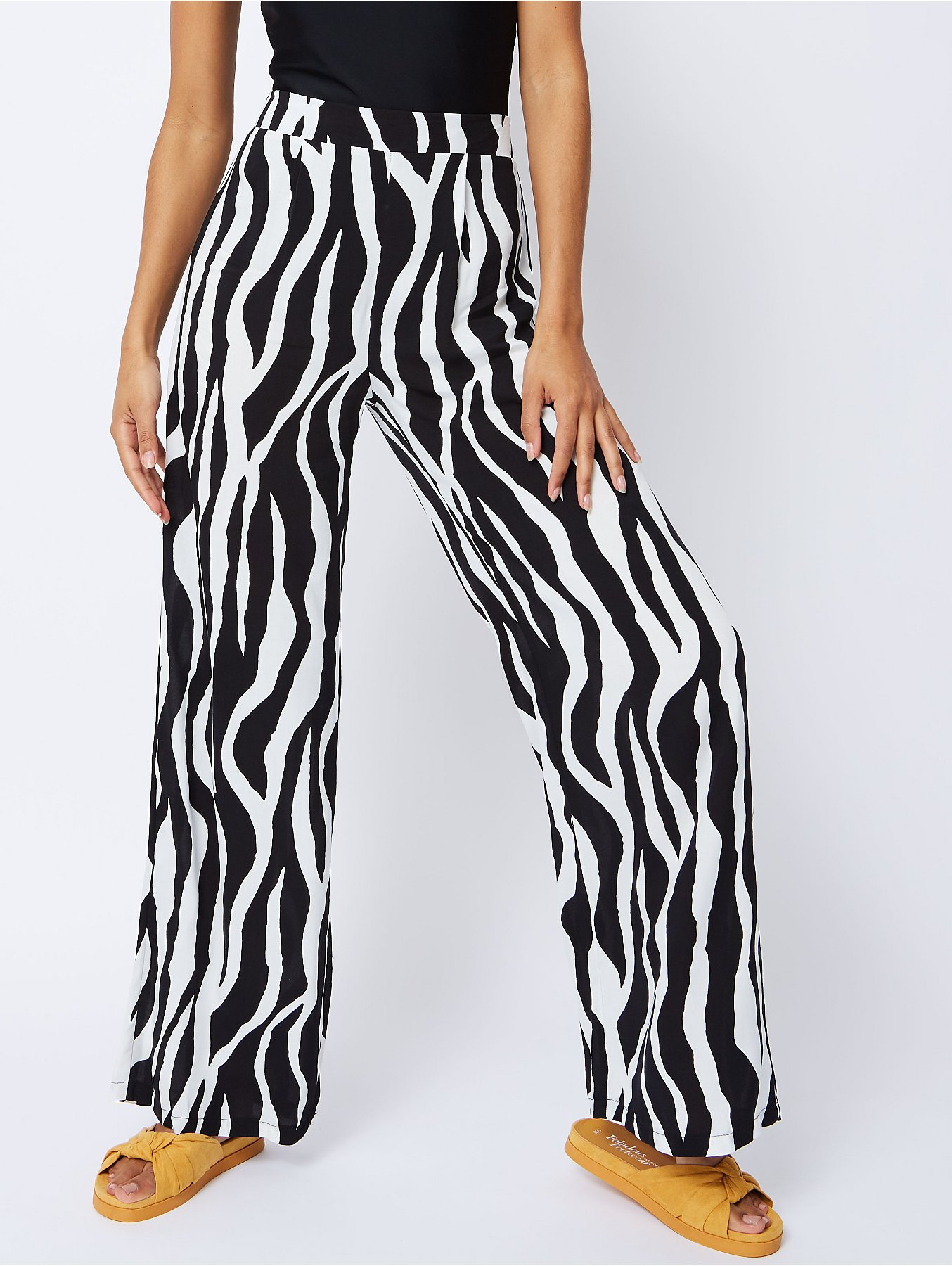 Black Zebra Print Palazzo Trousers