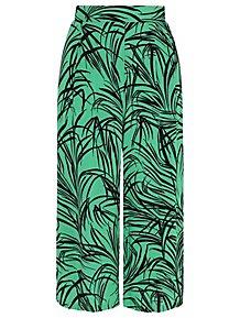3f80ca49d89a3 Green Leaf Print Culottes. £10