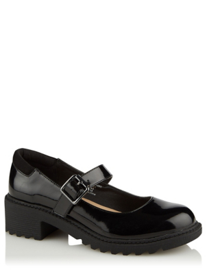 Girls Black Micro-Fresh® Patent School Shoes