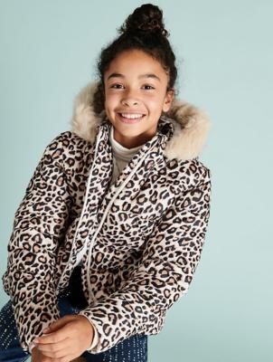 Leopard Print Faux Fur Trim Padded Coat