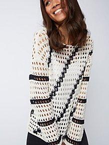 3fc95f8864f328 Cream Stripe Open Weave Jumper