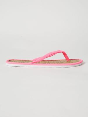 Neon Pink Woven Footbed Flip Flops