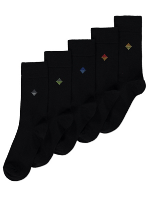 Diamond Pattern Feel Fresh Black Socks 5 Pack