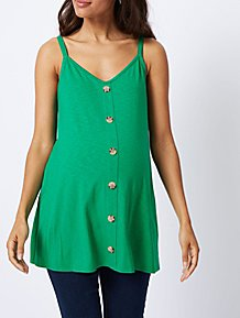 bb3d0724f3e Maternity Green Button Down Vest Top