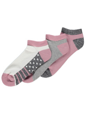 Cushioned Sole Trainer Liner Socks 3 Pack