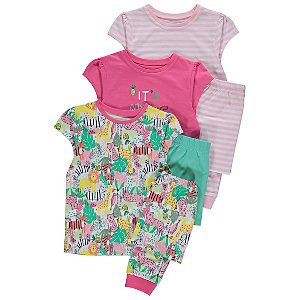 Safari Animal Short Sleeve Pyjamas 3 Pack