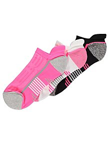 33c01742bbb94 Neon Pink and Black Trainer Liner Socks 3 Pack