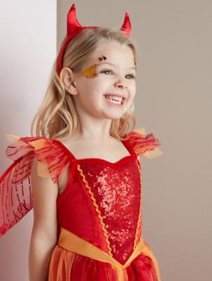 Halloween Devil Fairy Red Shimmering Fancy Dress Costume