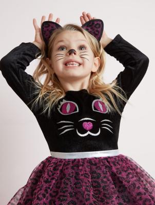Halloween Glittering Cat Fancy Dress Costume