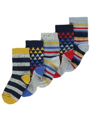 Geometric Pattern Ankle Socks 5 Pack