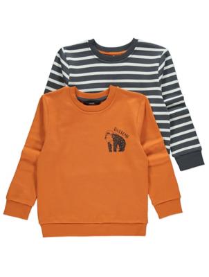 Orange Monkey Print Sweatshirts 2 Pack