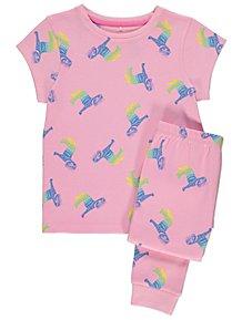 65e840001f464 Pink Rainbow Zebra Print Short Sleeve Pyjamas. From £5