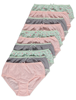 Pink and Mint Green Floral Briefs 10 Pack