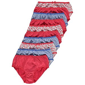 Red and Blue Patterned Briefs 10 Pack