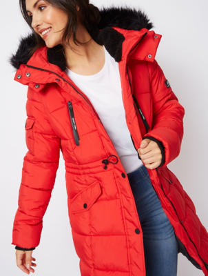 Ozark Red Longline Thermolite Wadded Padded Coat