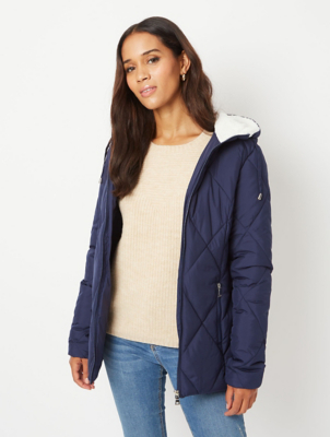 Navy Borg Lined Hooded Padded Coat