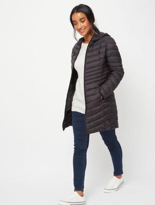Black Lightweight Padded Longline Coat