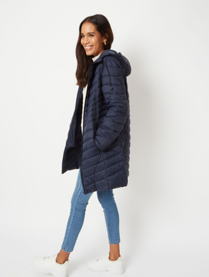 Navy Lightweight Padded Longline Coat