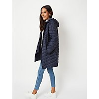Navy Lightweight Padded Longline Coat by Asda