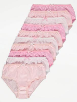 Pink Print Briefs 10 Pack