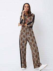 75e87f282cb Brown Snakeskin Print Side Stripe Jumpsuit