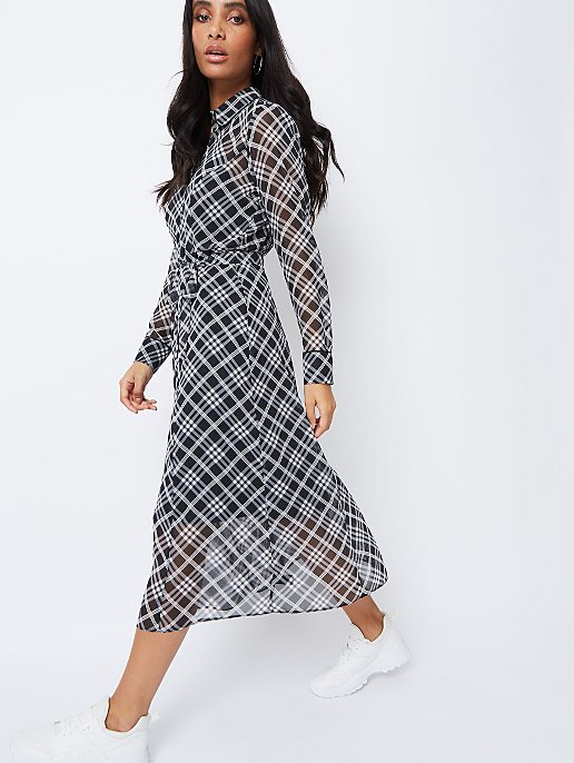 02e2ec7024784e Black Diagonal Check Chiffon Midi Shirt Dress. Video