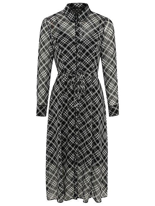 ee7896c3c61 Black Diagonal Check Chiffon Midi Shirt Dress. Video