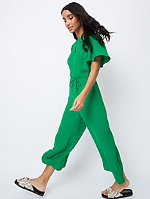57bc96df86a Green Keyhole Front Wide Leg Jumpsuit