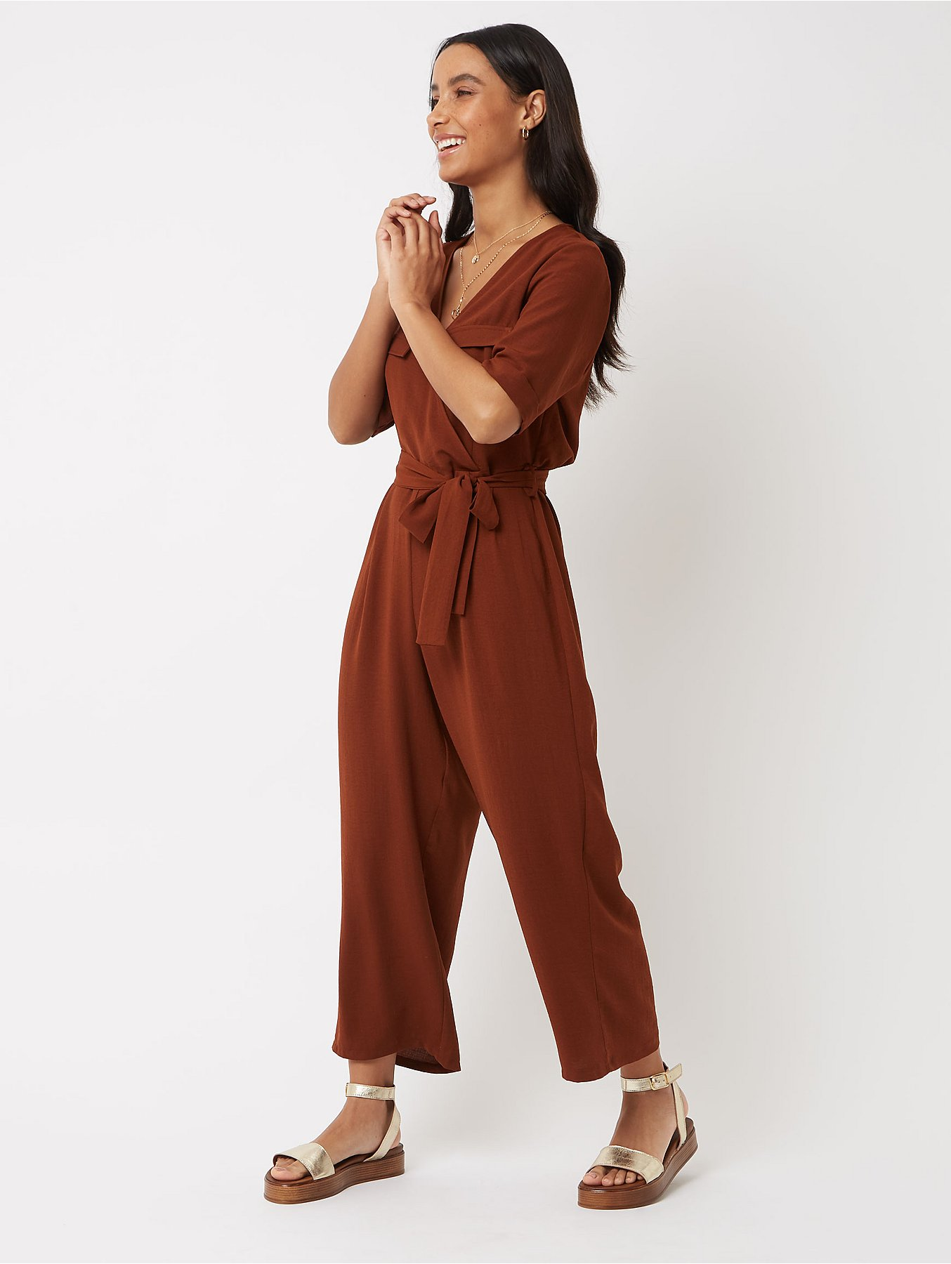 040b2f8a7b8 Chocolate Brown Utility Belted Jumpsuit. Reset