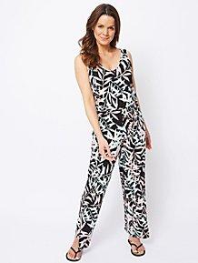 ab57ed645e5f Palm Print Jersey Jumpsuit